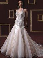 2010 New Style embroidery Elastic Satin Wedding Dress for Jobridal HS1052 Sheath Halter Floor-Length