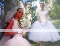 Face Ball Gown Bateau Tea-length Satin Tulle Celebrity Wedding Dresses WSM0363 Audrey Hepburn Funny
