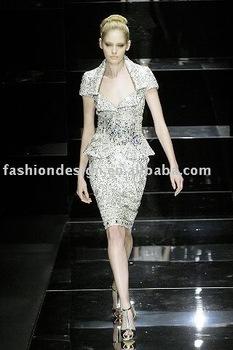 ES010  Elegant fully crystals cap sleeves evening dresses