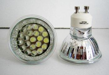1.9W led spot light,GU10 base;Size:52*52mm;21pcs 5mm DIP LED;RGB color