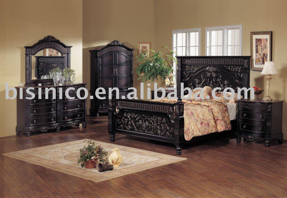 mão de madeira carving clássica mobília do quarto, cor preta, cama king size, mesa de cabeceira, cômoda, espelho, guarda-roupa(China (Mainland))