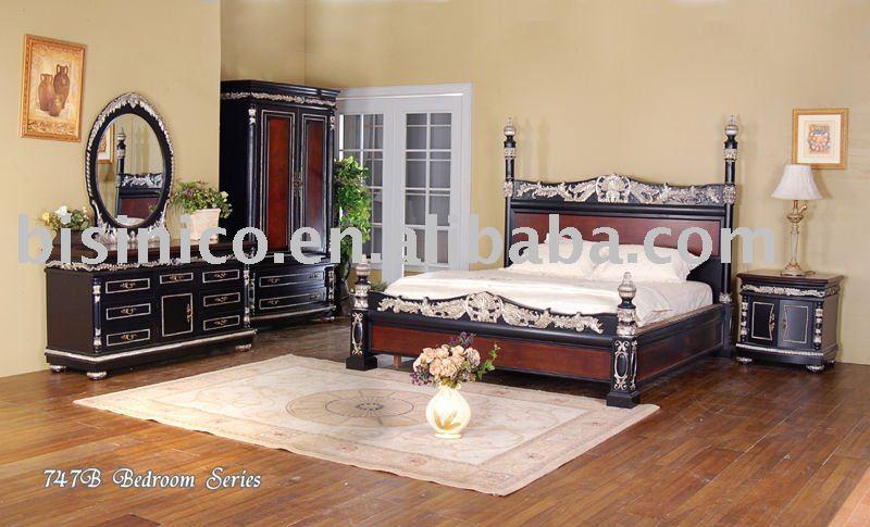 Mão de madeira mobília do quarto escultura clássica, clokr preto, cama king size, mesa de cabeceira, armário, espelho, guarda-roupa(China (Mainland))