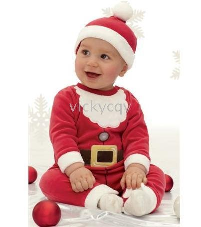 Boys bodysuits outfits--QY297 - baby Christmas Rompers baby hats rompers Christmas suits(China (Mainland))