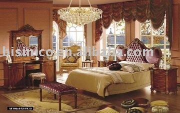 King size Clássica quarto conjunto de móveis (cama, mesa de cabeceira, armário, espelho, banco, etc)(China (Mainland))