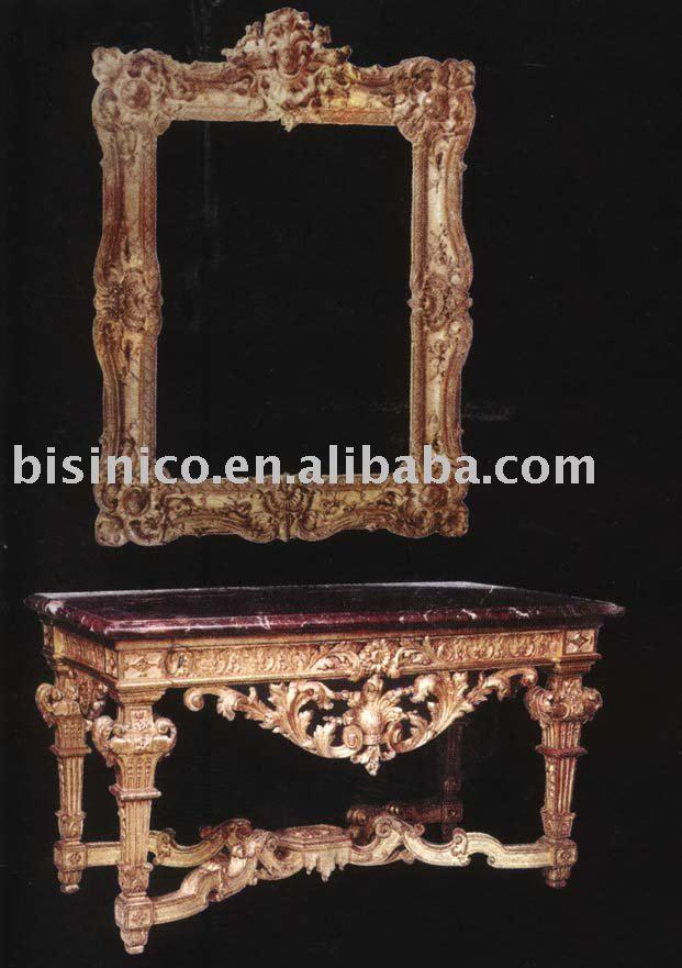 Luxo mão esculpida em estilo europeu conjuntos de mesa de console com espelho, banhado a ouro, clássicos móveis de sala de estar(China (Mainland))