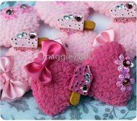 100 pieces B21 Girls Hair Claw clips Hair snap Bows attached clip Hair Bows Clips hairpin
