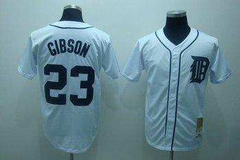 Free shipping baseball jerseys Detroit Tigers 23# GIBSON M&N jersey,white,Detroit Tigers jerseys
