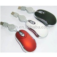 Promotion Gift Mini 3D Wire Mouse/Retractable Cable EMS Free Shipping