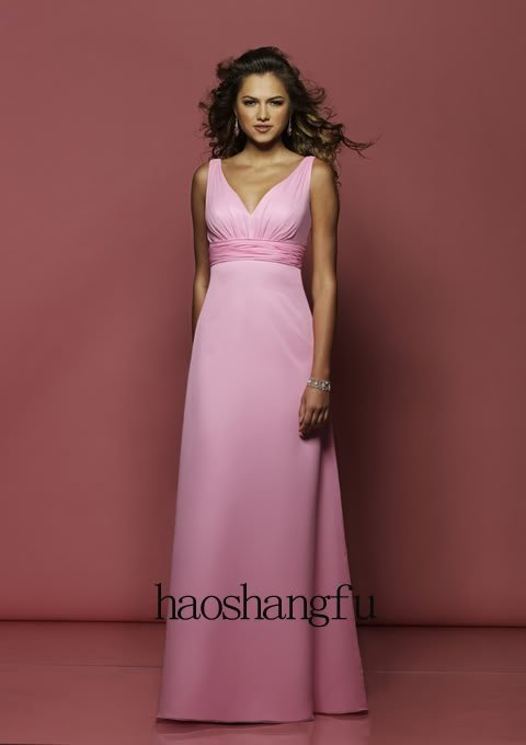 Pink Taffeta Strap Bridesmaid Wedding Prom Evening Gown Dress All Over The World(China (Mainland))
