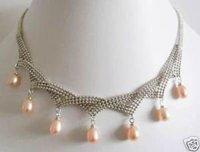 Wholesale Retail Quality wonderful 7 pcs pink pearl Elegant necklace Pendant new Free Shipping