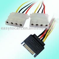 SATA 15 Pin Male to 2pcs 4 P IDE Female HDD Power Cable, 100pcs/lot, free shipping