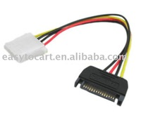 15 Pin IDE Male to 4 Pin SATA Female Molex Power Cable, 200pcs/lot, dhl free shipping