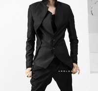 Free Shipping Men's Brand Blazer Asymmetric Suit Leisure Oblique Tuxedo Jacket High Quality Black Grey kaki Fit style M-XXL XZ04