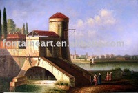 Dutch Holland Netherlands Canal Town Oil Painting