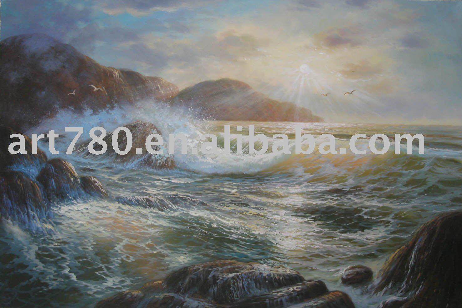 Pintura onda do mar(China (Mainland))