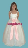 2012 Custom Made Pink Stain Pleated Flower Knee Length Flower Girl Dresses Girl Skirts  FL-302