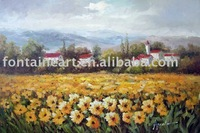 Handpainted Tuscan Sunflower Field Landscape Italian Oil Painting,freeshipping