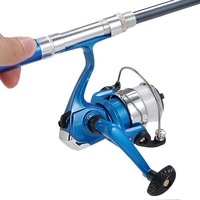 Travel Blue Pen Shape Fishing Rod & Gift Blue Reel/Line