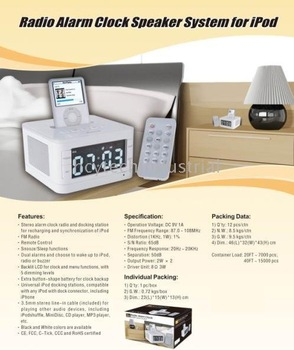 Speaker for IPOD,iPhone, Radio+Alarm+Clock+ Speaker all together,remote control very good quality,hot selling,Free Shipping