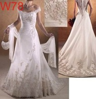 Free shipping Customer Made Satin Lace bridal dress Wedding Dresses Gown Evening Prom Dress