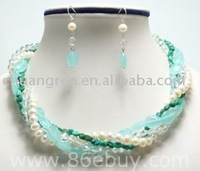 "18"" 4rows pearl nature turquoise semi precious stone necklace set"