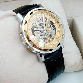 Mens Luxury Watch Gold Tone Skeleton Auto Leather Gift! freeship