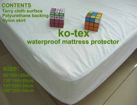 Queen size Hotel waterproof mattress protector (150*200/skirt30cm,5pcs/pack,for home/hotel/hospital)