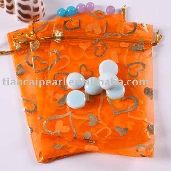 100X Orange Gold Heart Organza Jewelry Gift Bag 9x12cm