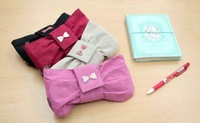 Free shipping Wholesale / Little Lady / elegant sweet / Ribbon / Fabric Pencil Case / Cosmetic Bag / 4 color
