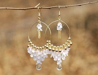 Bohemia crystal sequins fashion earrings gold beaded fringed Pendants Earring Brand New 10pcs/lot