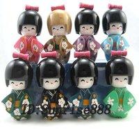 Hot Items! 100pcs beautiful Black Oriental Japanese Kokeshi dolls wooden 9cm
