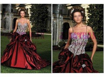 best satin red wedding dress ek25