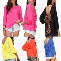 2014 Fashion women casual blouses tops leopard print chiffon loose chiffon shirt blusas femininas camisas 2014 plus size XXL