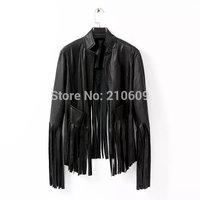 Fashion vintage 2014.11.11 discounts fashion body free all-match PU clothing tassel outerwear jacket leather jacket women