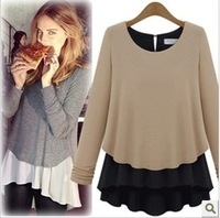 ree shipping 2014 new faux two piece set patchwork thickening chiffon shirt basic knitted long-sleeve shirt 3880#