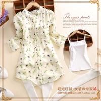 7236 x 2014 autumn women's spaghetti strap print chiffon o-neck long-sleeve set shirt