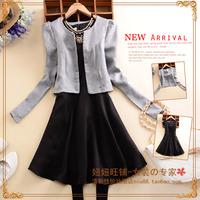 B192 2014 women's m o-neck cardigan long-sleeve short jacket top twinset one-piece dress