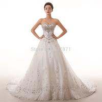 2014 luxurious train empire wedding dress sparkly diamonds rhinestone lace embroidery princess long trailing bride wedding dress