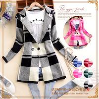A4154 x 2014 autumn fashion women's turn-down collar plaid long-sleeve cardigan sweater outerwear