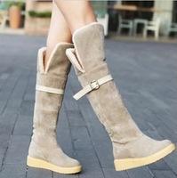 2014  winter and autumn women flat heel martin boots snow boots women knee-length winter fleece  boots