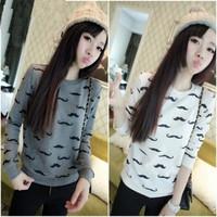 2014 women fashion Shirt Women Sweatshirt new casual fashion style moustache women's wear long sleeve blouse