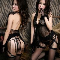 Sexy temptation set plus size transparent lace tassel skirt one-piece Costumes  Garment Accessories
