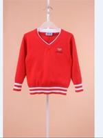 2014 children's clothing sweater child 100% V-neck sweater cotton sweater male girls clothing sweater baby sweater
