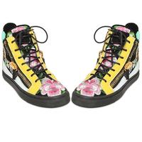 Giardina zhou 2014 casual high-top shoes platform genuine leather color block decoration sport shoes skateboarding shoes