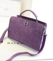 Free Shipping 2014 Autumn Designer Fashion Women Scrub suede leather lock shoulder bag ladies cross body satchel clutches bags