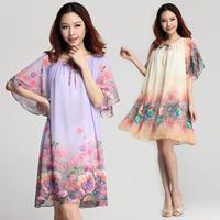 2014 chiffon plus size one-piece dress mm bow loose print one-piece dress 7303