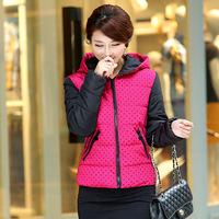 Winter Women's 2014 Fashion Hooded Jacket Polka Dot Print Winter Coat Women Slim Wadded Jacket For Women VSA1531