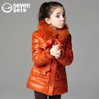 Sevensolo children's clothing female child rex rabbit hair coat medium-long Down jacket child Free shipping