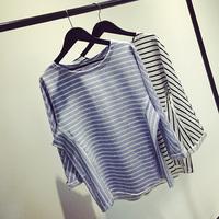 Fashion stripe loose casual sweatshirt female