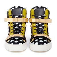 2014 platform genuine leather sport shoes polka dot casual high-top shoes skateboarding shoes